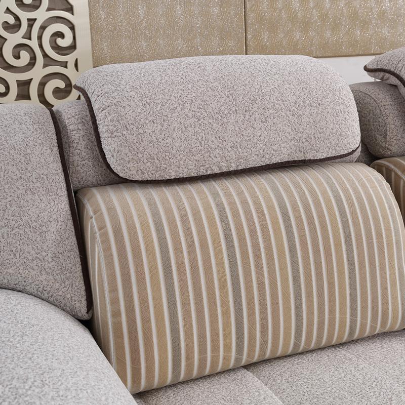 3免1丽美诗免洗布艺沙发 现代贵妃转角布沙发2060 米灰色双人 单