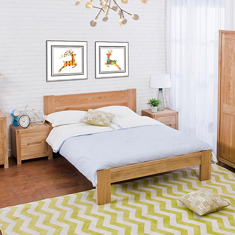 青岛一木 全实木床1.8米双人床 橡木床1.5米 北欧现代